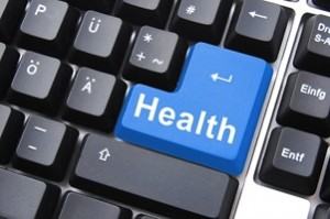 colorful health button on a computer keyboard